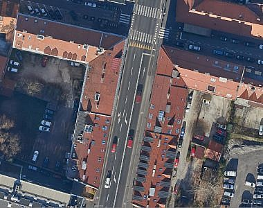 Updated orthophoto mosaic for the area of the renovated Slovenska cesta Road in Ljubljana
